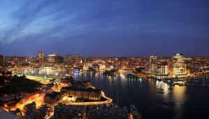 Baltimore at night. Photo courtesy Visit Baltimore.