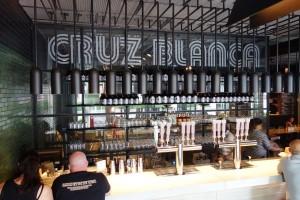 The bar on the main floor of Cruz Blanca.