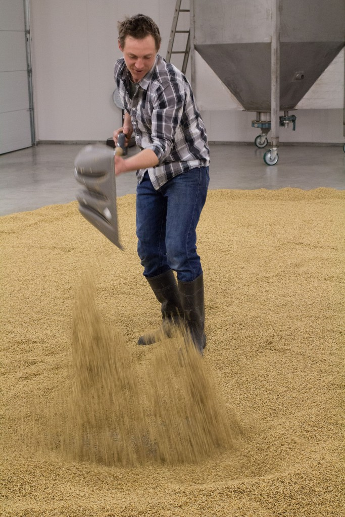 Devin turning the malt