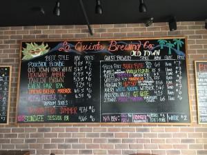 La Quinta Old Town Taproom draught lineup